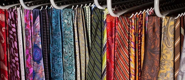 Rack Of Mens Neckties In Different Colors