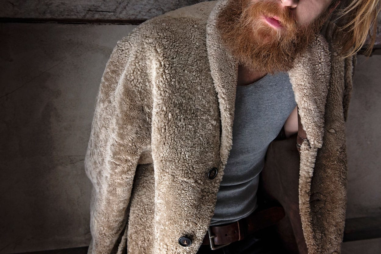Anthony Tarassi shearling outerwear, coat, men's style photo