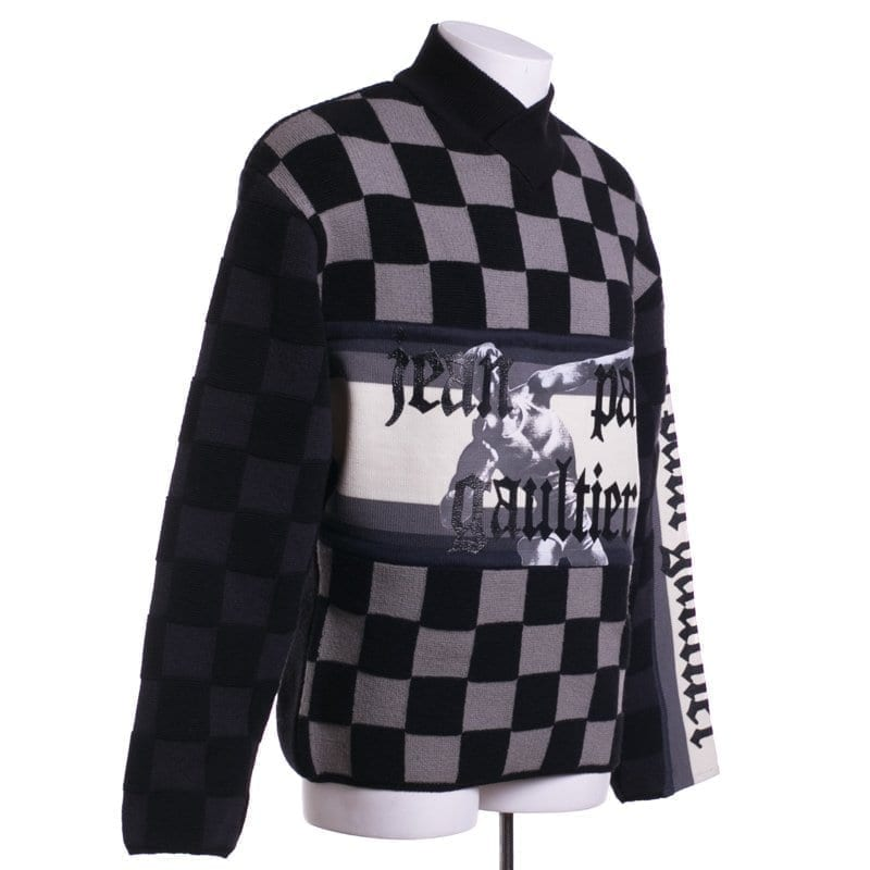Jean Paul Gaultier Vintage Pour Equator Sweater Checkered Athletic Graphic