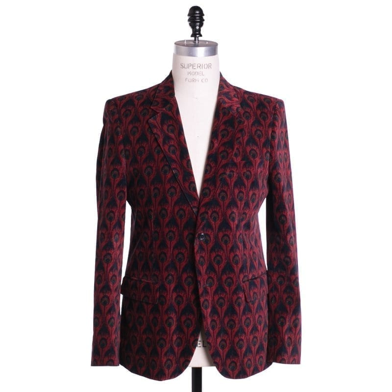 Suit, Red, Velvet, Peacock Print