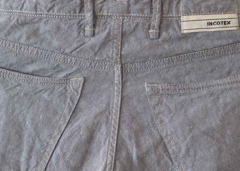 Curved back pockets on Incotex sky slim jean