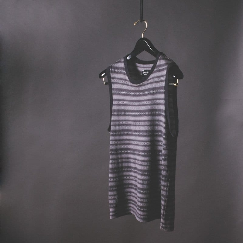 Striped cotton cashmere tank top, number nine