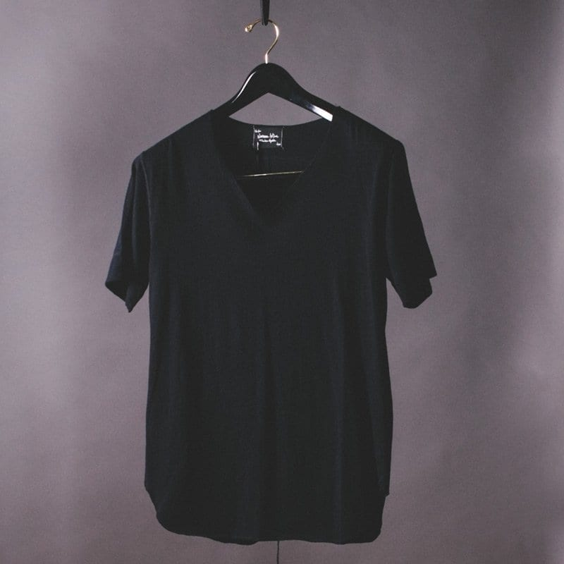 V Neck t-shirt in black cotton / silk, Number (N)ine