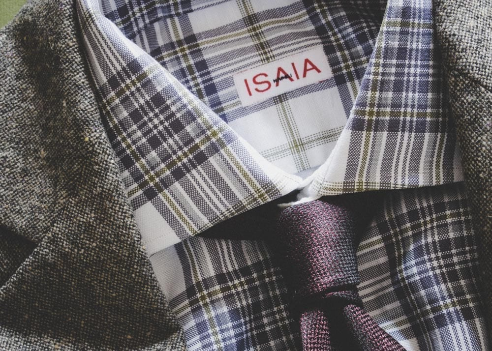 dress shirt collar, fabric closeup, Isaia Napoli Italy