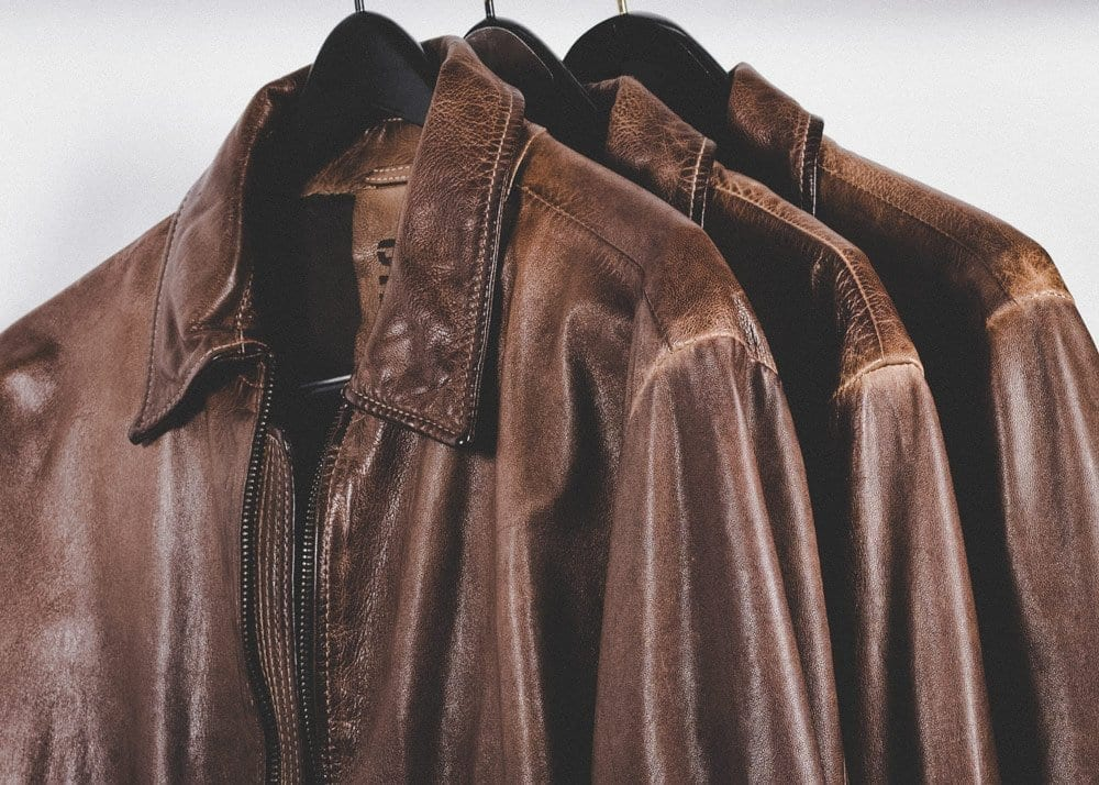 Artificially distressed leather jackets