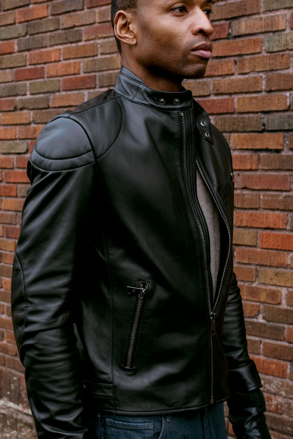 Cafe Racer style, men's jacket, Ralph Lauren, black leather