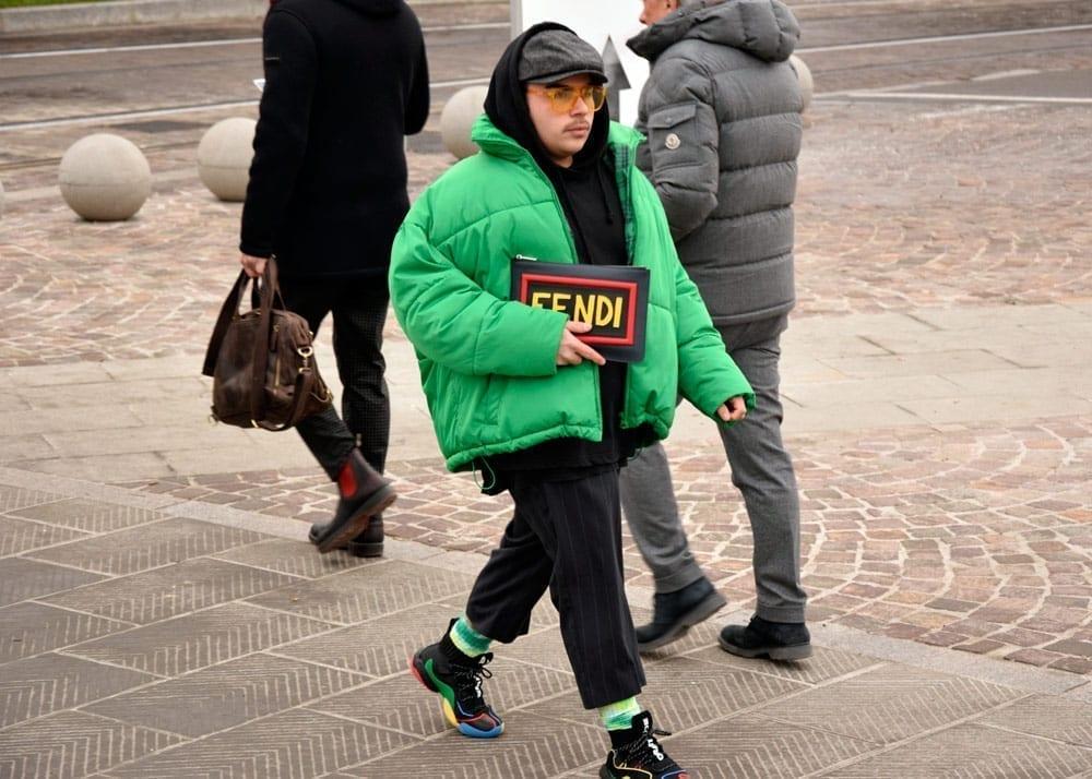 fluorescent green fluro puffer parka, pitti uomo