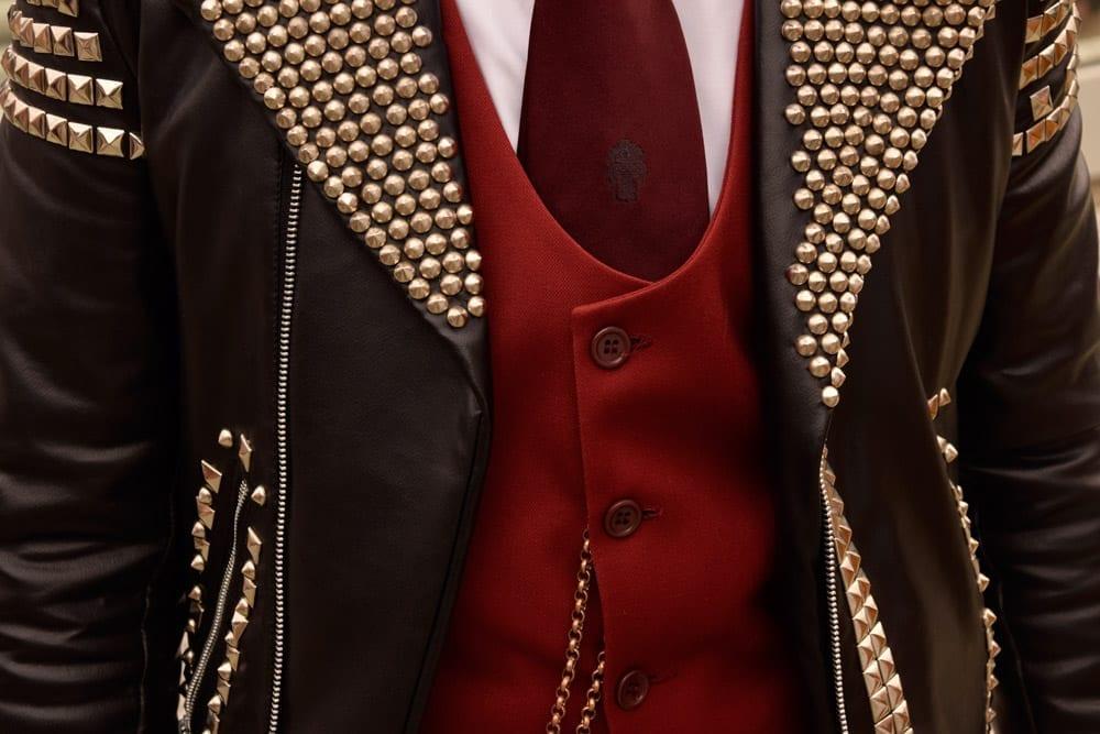studded jacket, waist coat vest, Pitti Street Style