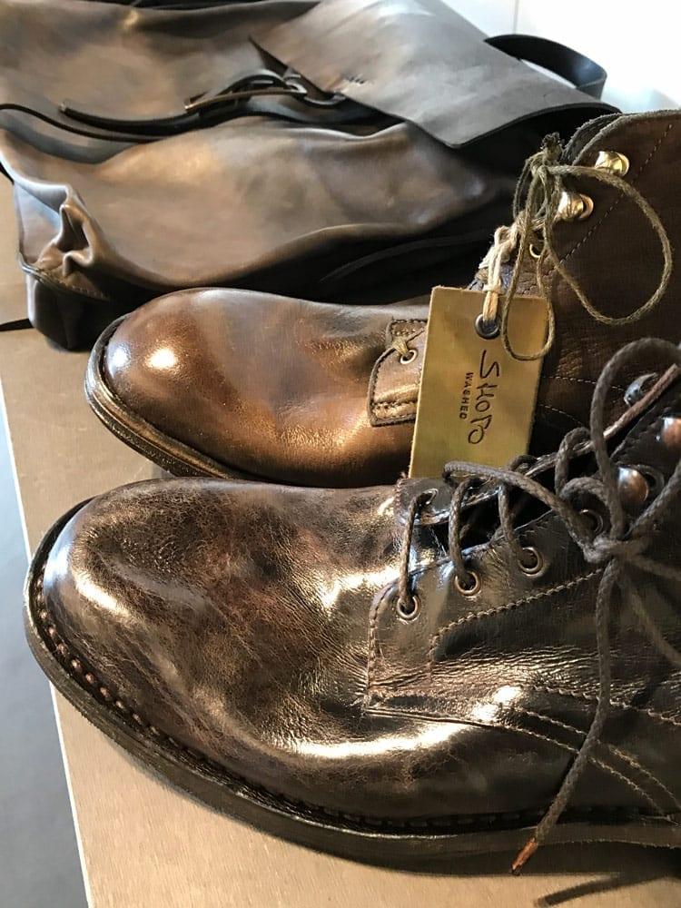 Italian label Shoto washed tumbled leather boots