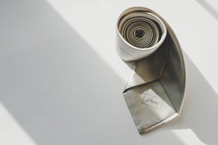 gray silk tie, brioni