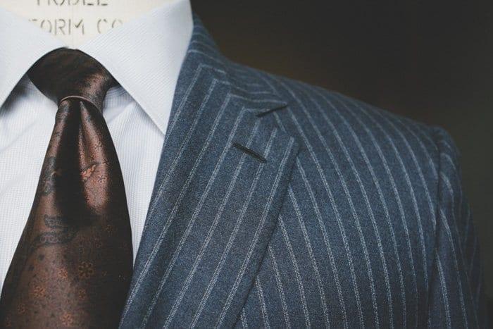 blue striped suit, brioni