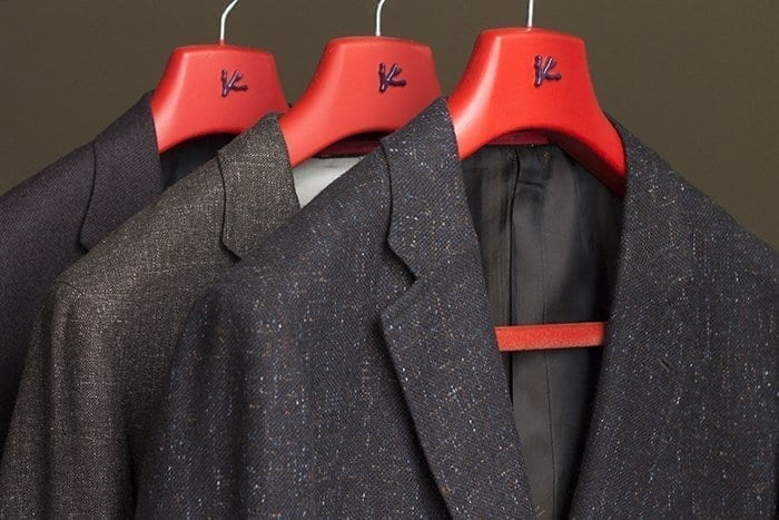 jackets on red hangers, isaia