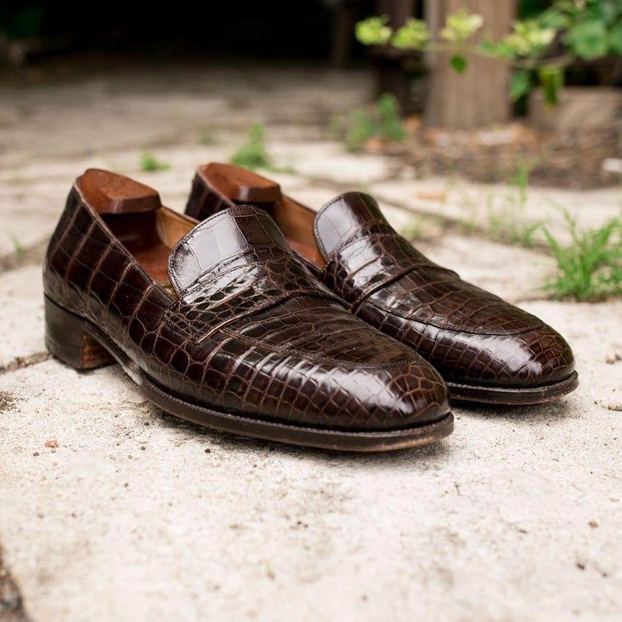 brown alligator loafer, john lobb