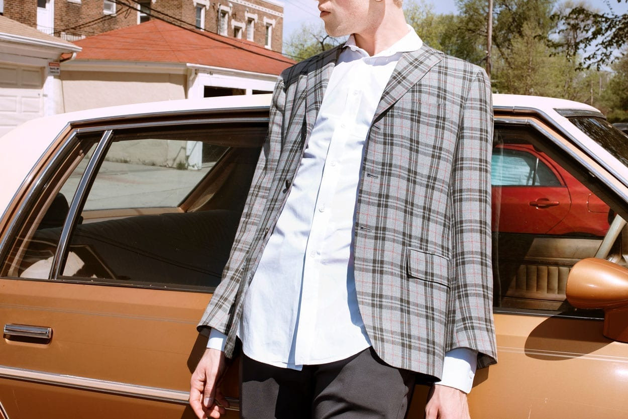 model wearing gray plaid blazer, south minneapolis