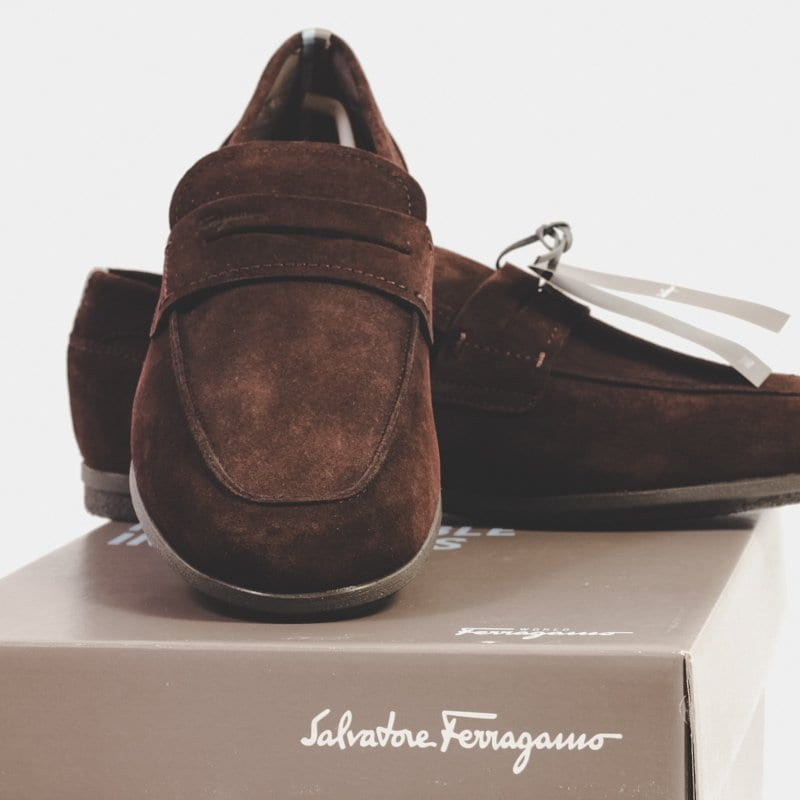 tour driving shoes, brown suede, ferragamo