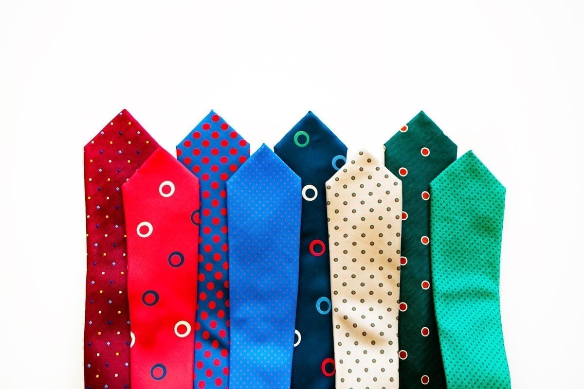 neckties in many colors