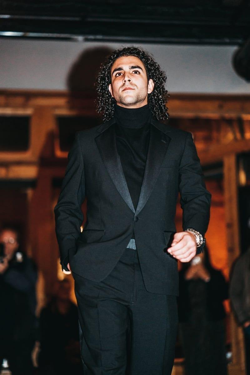 black tuxedo, black turtleneck